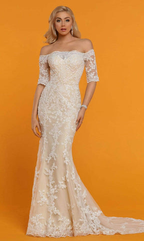 Da Vinci Bridal - 50529 Off Shoulder Sequin Lace Mermaid Wedding Gown Special Occasion Dress
