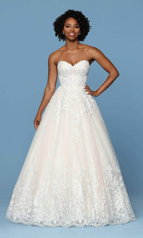 Da Vinci Bridal - 50560 Embroidered Sweetheart Tulle A-line Gown Wedding Dresses