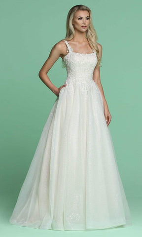 Da Vinci Bridal - 50628 Embroidered Glitter Tulle Long Bridal Gown