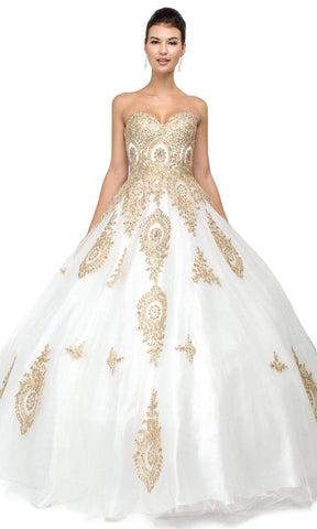 Dancing Queen - 1105 Strapless Sweetheart Gilt Appliqued Prom Ball Gown Sweet 16 Dresses