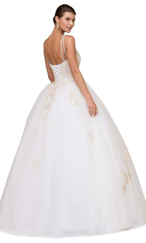 Dancing Queen - 1183 Jeweled Lace Applique Quinceanera Ballgown Special Occasion Dress