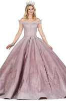 Floor Length Natural Waistline Fitted Glittering Pleated Off the Shoulder Quinceanera Dress with a Brush/Sweep Train