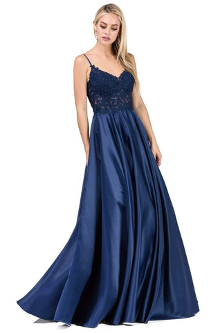 Dancing Queen - 2459 Lace Appliqued Long Prom Gown Prom Dresses XS / Navy