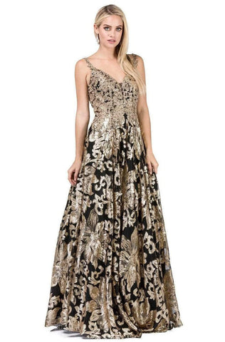 Dancing Queen - 2466 Appliqued Metallic Floral Prom Gown Special Occasion Dress XS / Gold