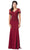 Dancing Queen - 2535 Short Sleeve Jeweled Appliqued Illusion Gown Special Occasion Dress XS / Burgundy