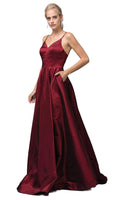A-line V-neck Empire Princess Seams Waistline Fall Floor Length Pleated Fitted Back Zipper Pocketed Satin Sleeveless Spaghetti Strap Evening Dress