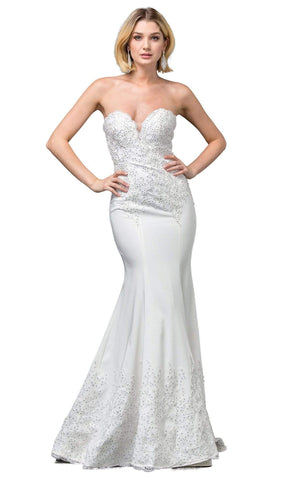 Dancing Queen Bridal - 136 Embroidered Deep Sweetheart Trumpet Gown