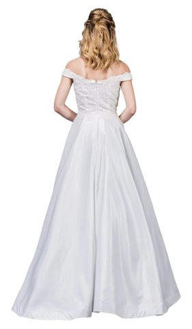 Dancing Queen Bridal - 61 Applique Off-Shoulder A-line Gown Special Occasion Dress XS / Off White