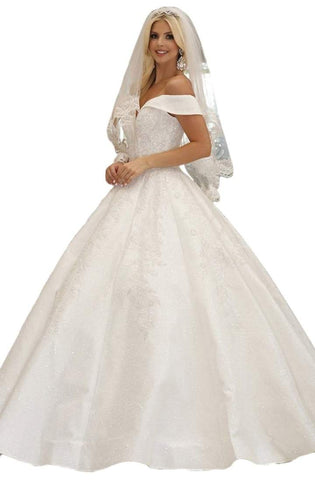Dancing Queen - Embellished Off-Shoulder Ballgown 158 - 1 pc Off White In Size M Available CCSALE M / Off White