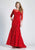 Dave & Johnny - 3756 Quarter Length Sleeve Lace Trumpet Dress - 1 pc Red In Size 4 Available CCSALE 4 / Red