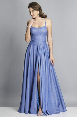 Dave & Johnny - A6933 Pleated A-Line Evening Dress with Slit