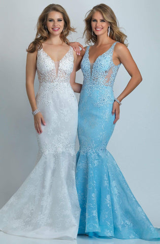 Dave & Johnny - A9003W Embroidered Deep V-neck Mermaid Dress