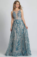 A-line Sleeveless Natural Waistline Sheer Sheer Back Beaded Illusion Sequined Dress with a Brush/Sweep Train