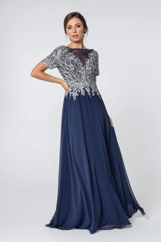 Elizabeth K - GL2826 Metallic Lace Embroidered Chiffon Dress