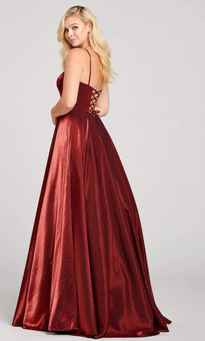 Ellie Wilde - EW121035 Illusion Deep V-Neck Rich Satin Ballgown Prom Dresses 00 / Wine