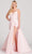 Ellie Wilde - EW22038 Plunging Sweetheart A-Line Dress with Slit Prom Dresses 00 / Pink