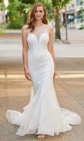 Enchanting by Mon Cheri - 120165 Beaded Tulle Mermaid Bridal Gown Wedding Dresses 0 / Diamond White