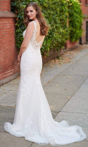 Enchanting by Mon Cheri - 120171 Embroidered Trumpet Bridal Gown Bridal Dresses 0 / Ivory/Vanilla