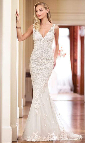 Enchanting by Mon Cheri - 218163 Beaded Lace Plunging V Neck Dress