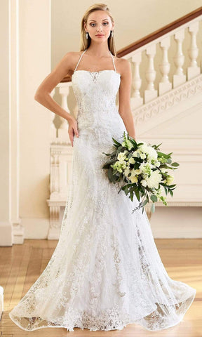 Enchanting by Mon Cheri - 218181 Halter Sheath Bridal Dress Bridal Dresses 0 / Ivory