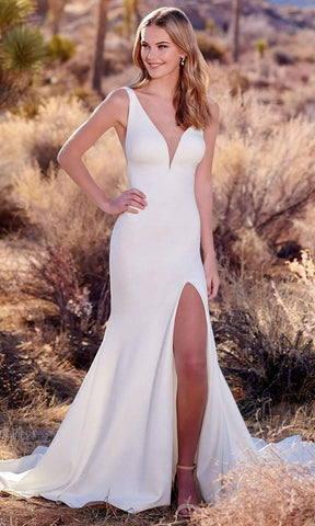 Enchanting by Mon Cheri - 220119 Deep V Neck Jersey Bridal Gown