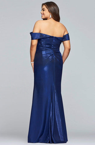 Faviana - 9457 Pleated Off-Shoulder Metallic Jersey Sheath Dress Evening Dresses 12W / Royal