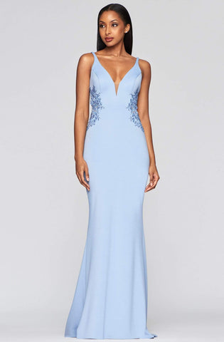 Faviana - S10226 Beaded Deep V-neck Neoprene Trumpet Dress