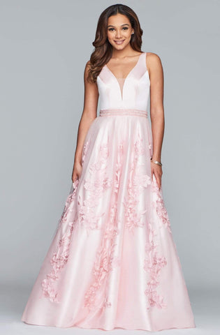 Faviana - S10230 Sleeveless Deep V-neck Satin Tulle Applique Ballgown Special Occasion Dress 00 / Pale Pink