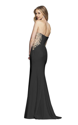 Faviana - S10304 Strapless Floral Embroidered Illusion Sheath Gown Special Occasion Dress 00 / Black