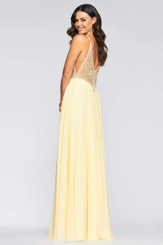 Faviana - S10431 Embroidered Plunging Sheer Bodice High Slit Dress Prom Dresses