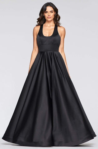 Faviana - S10441 Scoop neck Satin A-line Gown Prom Dresses 00 / Black