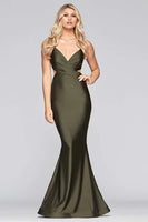 Bandeau Neck Halter Natural Waistline Charmeuse Mermaid Cutout Back Zipper Ruched Dress with a Brush/Sweep Train