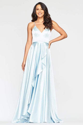 Faviana - S10460 Asymmetrical Wrap High Slit Satin Dress Prom Dresses 00 / Light Ice Blue