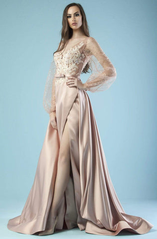 Gatti Nolli Couture - ED-4463 Sheer Bishop Sleeve Draping Slit Gown