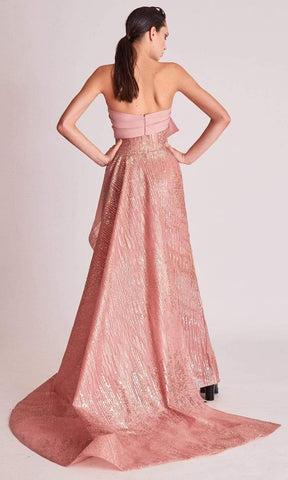 Gatti Nolli Couture - OP5738 Bow Accent Metallic Ornate High Low Gown Cocktail Dresses 0 / Blush