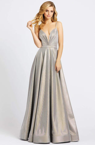 Ieena Duggal - 20165I Ruched Plunging V-Neck Evening Gown Special Occasion Dress 0 / Silver