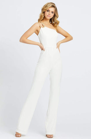 Ieena Duggal - 26066I Embellished Asymmetric Jumpsuit Special Occasion Dress 0 / Ivory