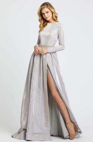 Ieena Duggal - 26125I Long Sleeves A-Line Gown with Slit Special Occasion Dress 0 / White Ice