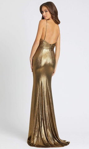 Ieena Duggal - 26408 Plunging Neck Lustrous Evening Gown Special Occasion Dress 0 / Bronze