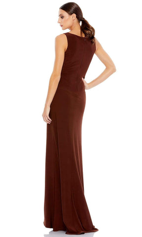 Ieena Duggal - 26513 Sleeveless V-Neck High Leg Slit Fitted Gown Special Occasion Dress 0 / Chocolate