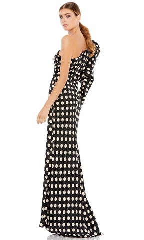 Ieena Duggal - 26515 Puff Long Sleeve Polkadot Dress Evening Dresses 0 / Black/White
