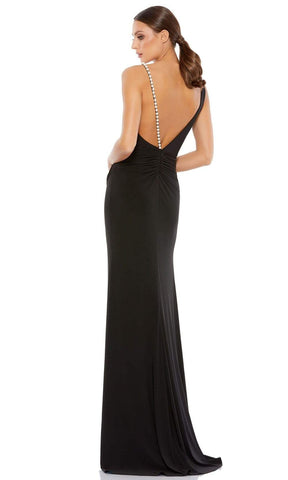 Ieena Duggal - 26532 Sleeveless V-Neck Pearl Beaded Strap Sheath Gown Special Occasion Dress 0 / Black