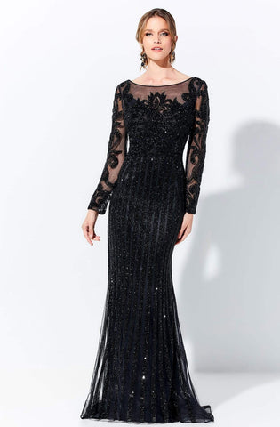 Ivonne D by Mon Cheri - 120D11 Stone Embellished Lace Dress Mother of the Bride Dresses 4 / Black