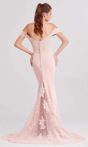 J'Adore - J15016 Off Shoulder Beaded Lace Bodice Mermaid Dress Special Occasion Dress 2 / Dusty Pink