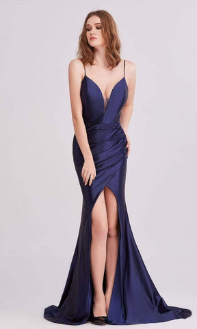 J'Adore - J15030 Plunging Neck Mid Slit Dress Evening Dresses 2 / Navy