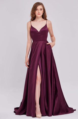 J'Adore - J16050 Plunging V-neck Satin A-line Gown Bridesmaid Dresses 2 / Dusty Pink