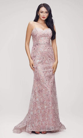 J'Adore - J17005 Lace Sweetheart Trumpet Dress Evening Dresses 2 / Pink