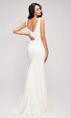 J'Adore - J17013 Illusion V Neck Sheath Gown Mother of the Bride Dresses 2 / Ivory