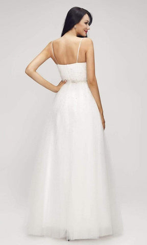 J'Adore - J17015 Plunging Neck Beaded Tulle Gown Prom Dresses 2 / Ivory