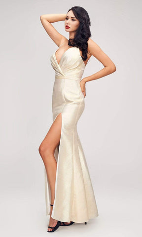 J'Adore - J17037 Metallic Glitter High Slit Mermaid Gown Special Occasion Dress 2 / Champagne